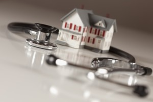 Care home with stethoscope image